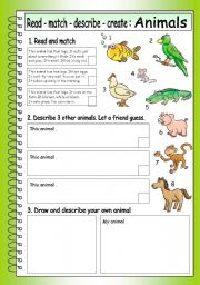 English Worksheets: Read - Match - Describe - Create: ANIMALS (3)