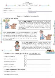 English Worksheet: Test on physical description / likes and dislikes