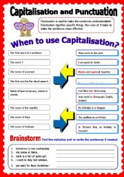 English Worksheet: Capitalisation and Punctuation