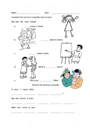 English Worksheets: Introductions MY HER HIS YOUR FRIEND