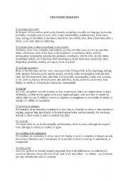 English Worksheets: List of discourse markers (grouped)