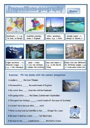 English Worksheets: Prepositionns-geography