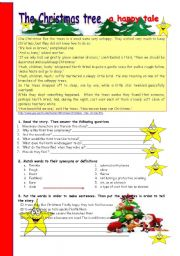 English Worksheet: The Christmas tree: a happy tale