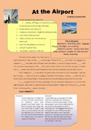 English Worksheet: at the airport/ travelling by train