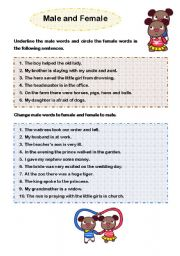 English Worksheets: Male and Female