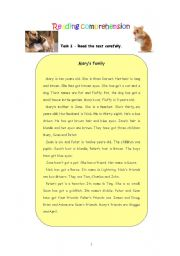 English Worksheets: Reading comprehension - Mary´s family