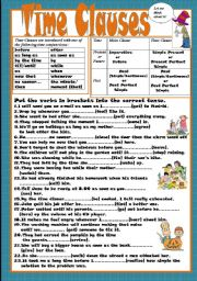 English Worksheets: Time Clauses