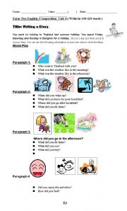 English Worksheet: writing a diary on travelling in Thailand
