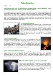 English Worksheet: Reading comprehension - Natural Disasters