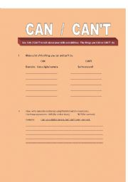 English worksheet: CAN  /  CAN´T