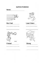 English Worksheets: Super Powers