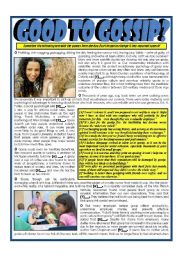 English Worksheet: Good To Gossip? - Reported Speech