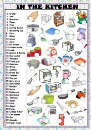 English Worksheet: IN THE KITCHEN - UTENSILS AND APPLIANCES  (KEY AND B&W VERSION INCLUDED)