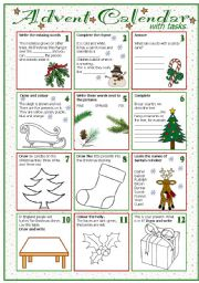 English Worksheet: Advent calendar with tasks