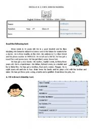 English Worksheet: test 6th form