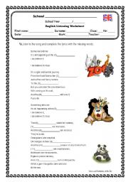 English Worksheets: Listening exercise: song At the Zoo by Simon and Garfunkel