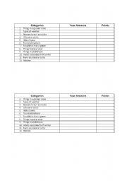 English Worksheets: Cattegories!