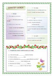 English Worksheets: too/enogh