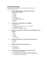 English Worksheets: Questionaire - use the first day of class