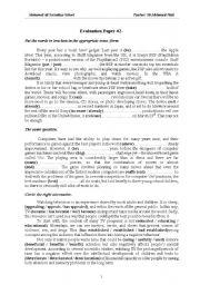 English Worksheets: Evaluation of bac students