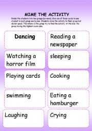 English Worksheets: MIME THE ACTIVITY