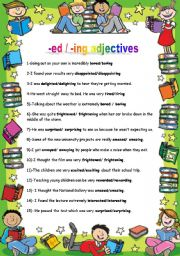 English worksheet: -ed /-ing adjectives