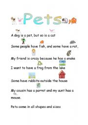 Vocabulary worksheets > The animals > Pets > Pets
