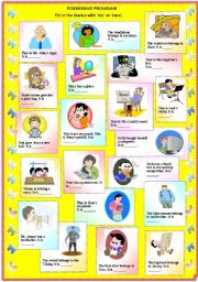 English Worksheet: Possessive Pronouns - His or Hers (with B/W and answer key)**fully editable
