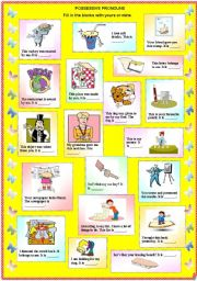 English Worksheet: Possessive Pronouns - Yours or Mine (with B/W and answer key)**fully editable