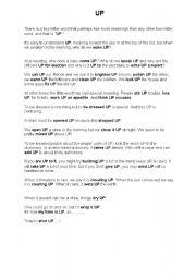 English Worksheets: UP postposition