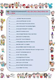 English Worksheet: Why, Who, What, When, Where, How old  or Whose.