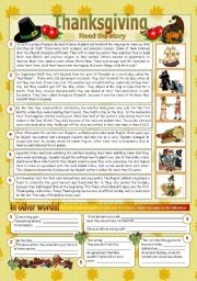 English Worksheets: The story of Thanksgiving (2pages)