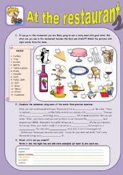 English Worksheets: At the restaurant 2