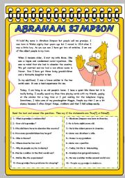 English Worksheet: ABRAHAM SIMPSON: THE GRANDFATHER.