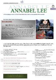 English worksheet: Poe´s Poem Annabel Lee