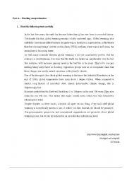 English Worksheet: 11th grade test - Global warming