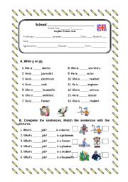 English Worksheet: Written test - jobs, a/ an, personal pronouns, possessive adjectives, yes or no questions
