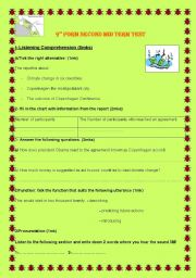English Worksheet: Climate Change. 9th form test  tunisian programme.