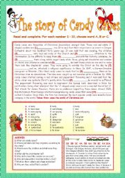 English Worksheets: THE STORY OF CANDY CANES.