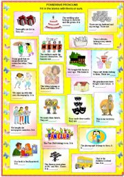 English Worksheet: Possessive Pronouns - Theirs or Ours (with B/W and answer key)**fully editable