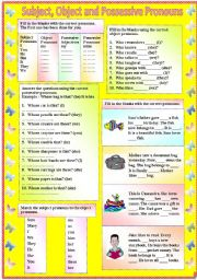 English Worksheet: Subject, Object and Possessive Pronouns (with B/W and answer key) **fully editable