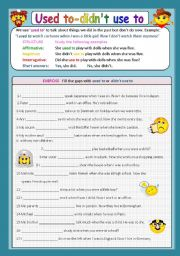 English Worksheet: USED TO / DIDN´T USE TO