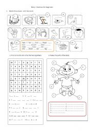 English Worksheet: Body Parts - exercises for beginners