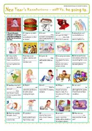 English Worksheet: NEW YEAR�S RESOLUTIONS - PiCtUrE sToRY for practicing