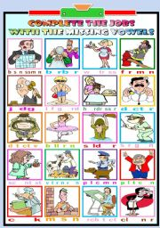 English Worksheets: JOBS- COMPLETE WITH THE MISSING VOWELS (KEY INCLUDED)
