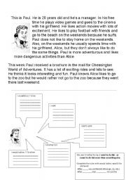 English Worksheets: Paul & Alice Planning a Day Out
