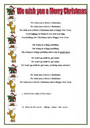 picture regarding Lyrics to We Wish You a Merry Christmas Printable referred to as We Need your self a Merry Xmas worksheets
