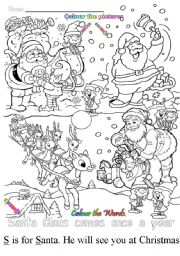English Worksheets: S is for Santa