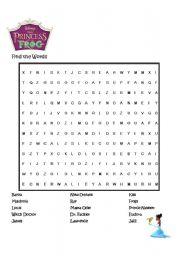English worksheet: Disney Princess & Frog: Word Find