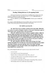 English Worksheets: Making Inferences Introduction sheet